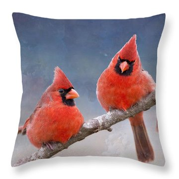 Fluffy Cardinal Trio Throw Pillow