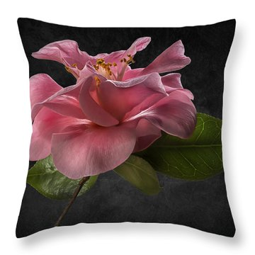 Fluffy Pink Camellia 2 Throw Pillow
