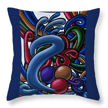 Colorful Abstract Art Painting Chromatic Water Artwork  Throw Pillow