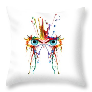Fluid Abstract Eyes Throw Pillow