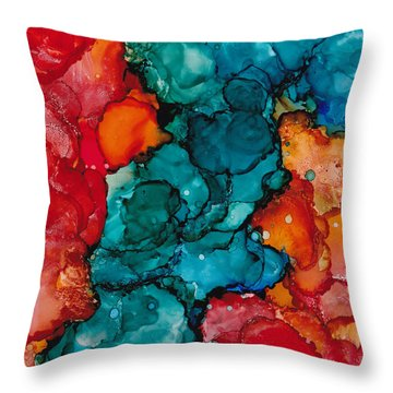 Throw Pillow featuring the painting Fluid Depths Alcohol Ink Abstract by Nikki Marie Smith