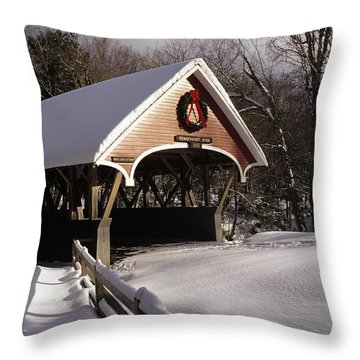 Flume Covered Bridge - Lincoln New Hampshire Usa Throw Pillow by Erin Paul Donovan