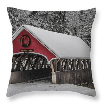 Flume Covered Bridge In Winter Throw Pillow