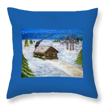 Throw Pillow featuring the painting Flurries In Alpena by Debbie