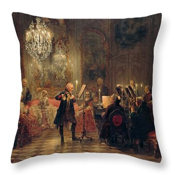 Throw Pillow featuring the painting Flute Concert With Frederick The Great In Sanssouci by Adolph Menzel