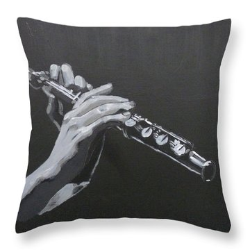 Flute Hands Throw Pillow