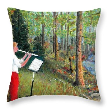 Flute Player Throw Pillow