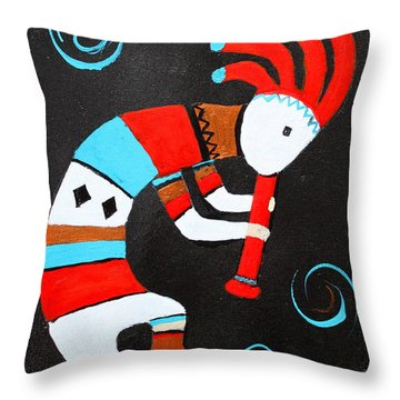 Throw Pillow featuring the painting Flute Player by M Diane Bonaparte