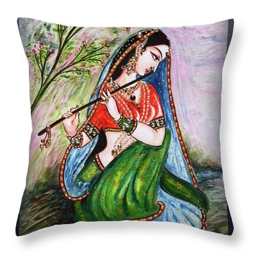 Flute Playing In - Krishna Devotion  Throw Pillow