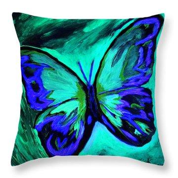 Flutterby Brings The Light Through Dark Throw Pillow by Lisa Brandel