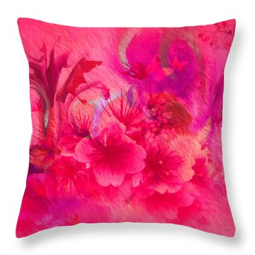 Flower Art Pinky Pink  Throw Pillow by Sherri's Of Palm Springs