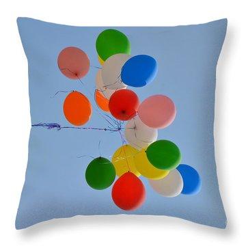 Fly Away Balloons Throw Pillow