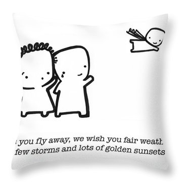 Throw Pillow featuring the drawing Fly Away by Leanne Wilkes