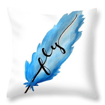 Fly Blue Feather Vertical Throw Pillow