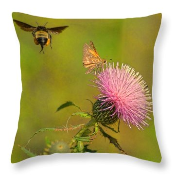 Fly By Bee Throw Pillow