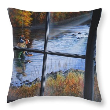 Fly Fisher Throw Pillow