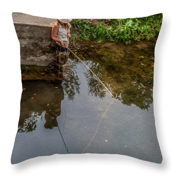 Fly Fisher Gal Throw Pillow