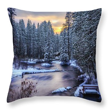 Throw Pillow featuring the photograph Fly Fisherman On The Metolius by Cat Connor