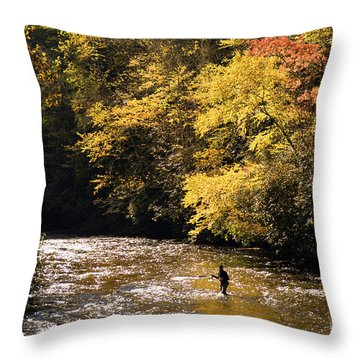 Throw Pillow featuring the photograph Fly Fisherman On The Tellico - D010008 by Daniel Dempster