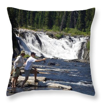 Fly Fishing The Lewis River Throw Pillow by Marty Koch