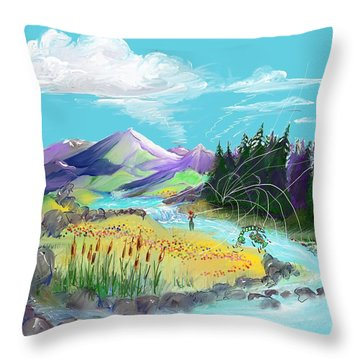 Fly Fishing With Aa Wooly Worm. Throw Pillow