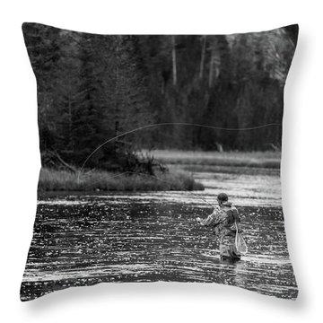 Fly Fishing Yellowstone Wy B W Throw Pillow