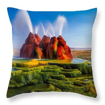 Fly Geyser Panorama Throw Pillow
