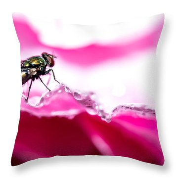 Fly Man's Floral Fantasy Throw Pillow