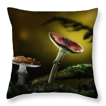 Fly Mushroom - Red Autumn Colors Throw Pillow by Dirk Ercken