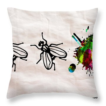 Fly On The Wall Abstract Watercolor Throw Pillow