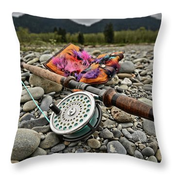 Fly Rod And Streamers Landscape Throw Pillow