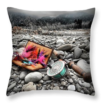 Fly Rod And Streamers Portrait Throw Pillow