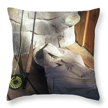 Fly Rod And Vest Throw Pillow
