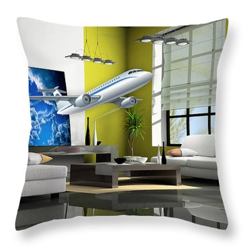 Fly The Friendly Skies Art Throw Pillow by Marvin Blaine