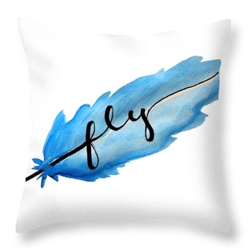Fly Watercolor Feather Horizontal Throw Pillow