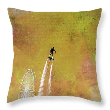 Flyboard, Sketchy And Painterly Throw Pillow