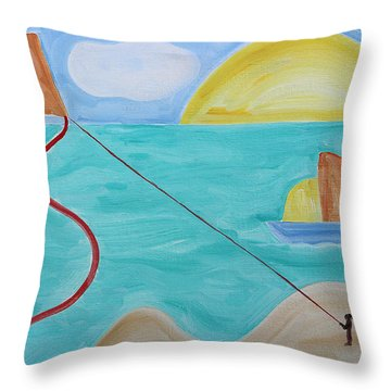 Flying A Kite Throw Pillow by Patrick J Murphy