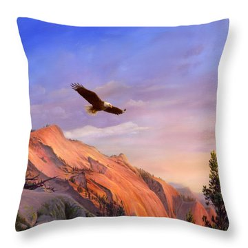 Flying American Bald Eagle Mountain Landscape Painting - American West - Western Decor - Square Form Throw Pillow