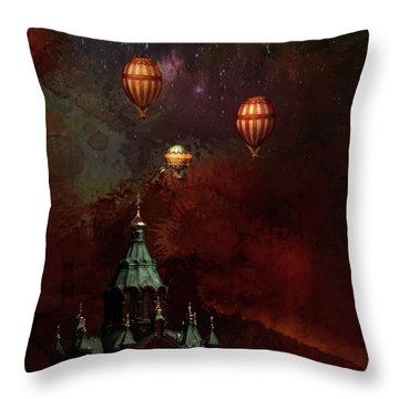 Throw Pillow featuring the digital art Flying Balloons Over Stockholm by Jeff Burgess