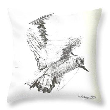 Flying Bird Sketch Throw Pillow