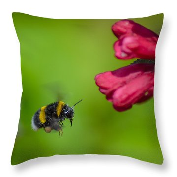 Flying Bumblebee Throw Pillow