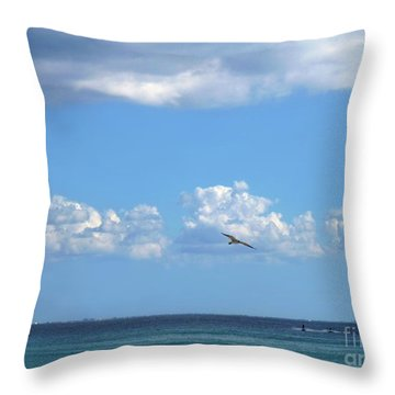 Throw Pillow featuring the photograph Flying By The Sea by Francesca Mackenney