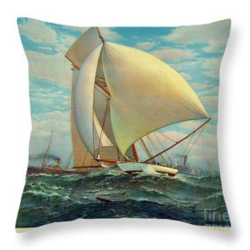 Throw Pillow featuring the photograph Flying Defender 1895 by Padre Art