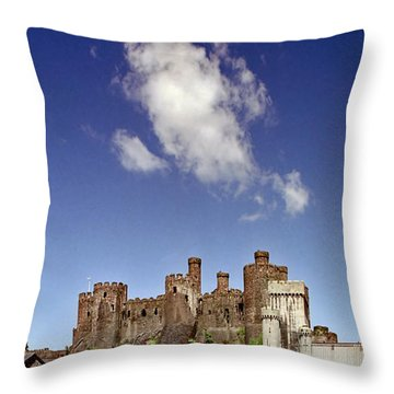 Flying Dragon Conwy Castle Throw Pillow