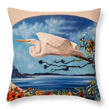 Flying Egret Throw Pillow