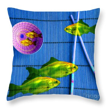 Flying Fish And The Pink Moon Throw Pillow