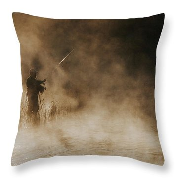 Throw Pillow featuring the photograph Flying Fishing by Iris Greenwell