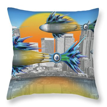 Throw Pillow featuring the digital art Flying Fisque  by Steve Sperry