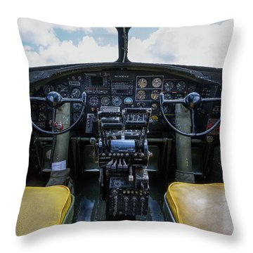 Flying Fortress Cockpit Throw Pillow