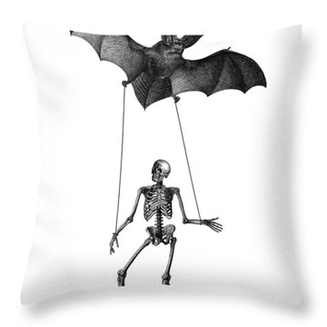 Flying Bat With Skeleton On A String Throw Pillow